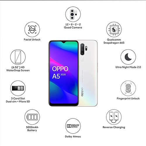 OPPO Mobile A5 2020 (3GB + 64GB) Smart Phone 12 MP quard Camera