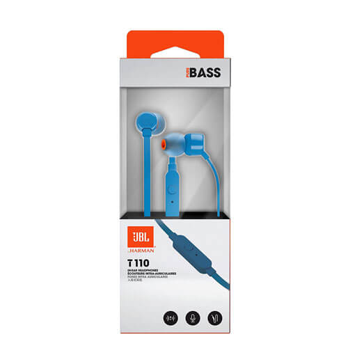 JBL T110 in-Ear Headphones with Pure Bass, Microphone and Remote - Blue