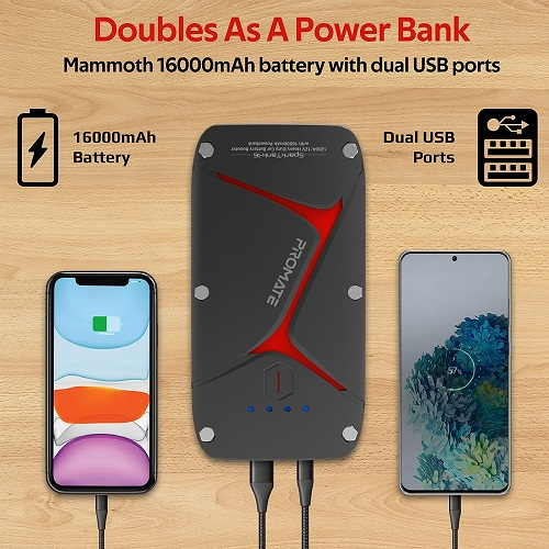 Promate Car Jump Starter Power, Bank Portable Car Battery Booster with 10000mAh Power Bank(Water Resistant)