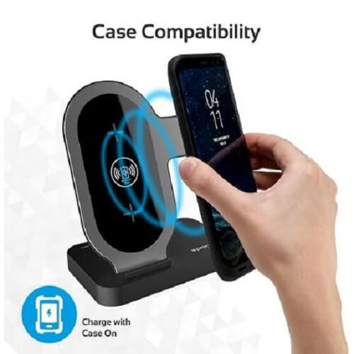 Promate Wireless Charging Stand Portable Aluminium Dual 10W Qi Fast Wireless Charging, AuraBase White.