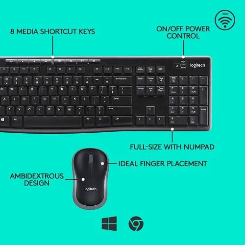 Logitech MK270 Wireless Keyboard and Mouse Combo.